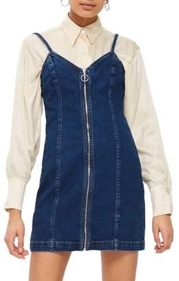 Topshop Zip Through Denim Body-Con Dress