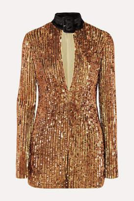 ATTICO Velvet-trimmed Embellished Sequinned Tulle Mini Dress - Gold