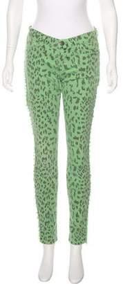 Current/Elliott Mid-Rise Leopard Print Jeans