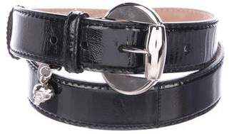 Alexander McQueen Patent Leather Skull-Accented Belt