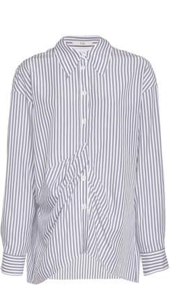 Tibi Stripe Draped Tencel Shirt