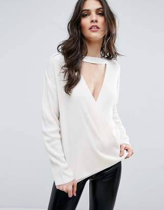 ASOS Sweater With Cross Front And Choker Detail $38 thestylecure.com