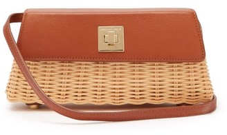 Sparrows Weave - The Clutch Wicker And Leather Cross Body Bag - Womens - Tan
