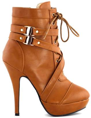 story. Show Buckle Strappy High Heel Stiletto Platform Ankle Boots,LF30470BP40,9US