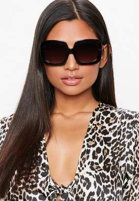 Missguided Brown Square Tortoise Shell Sunglasses