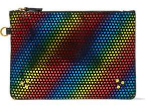 Jerome Dreyfuss Disco Club Leather-Trimmed Metallic Printed Suede Pouch