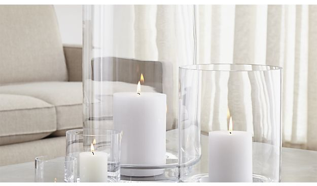 Crate & Barrel Taylor Glass Hurricane Candle Holders