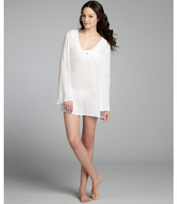 Badgley Mischka white crinkle cotton woven beaded coverup