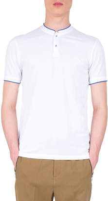 The Kooples Men's Officer Collar Contrast Trim Polo, White