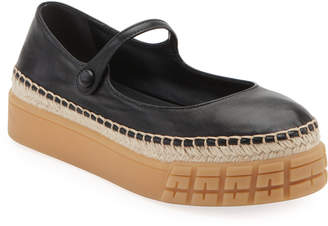 Prada Leather Mary Jane Rubber Ballet Flats