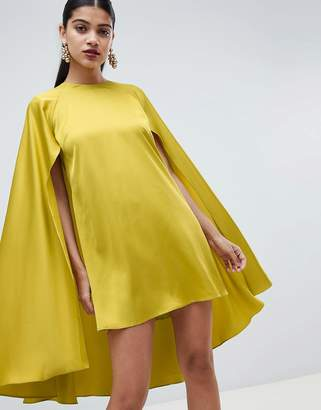 Asos DESIGN cape sleeve satin mini dress