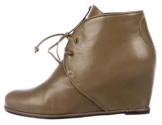 Stuart Weitzman Leather Round-Toe Wedge Boots