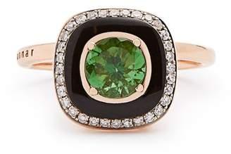 SELIM MOUZANNAR Diamond, tsavorite, enamel & pink-gold Mina ring