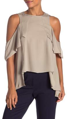 Nicole Miller Solid Silk Cold Shoulder Ruffle Blouse