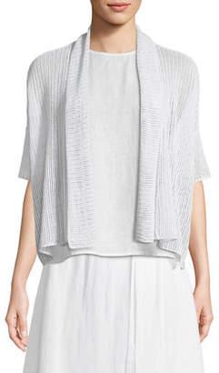 Eileen Fisher Organic Linen Open-Weave Short Cardigan, Petite