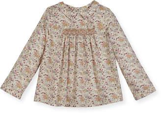 Bonpoint Floral-Print Smocked Blouse, Size 3-8