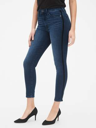 Gap High Rise True Skinny Ankle Jeans with Velvet Side Stripes