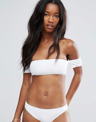 New Look Ribbed Bikini Bardot Top