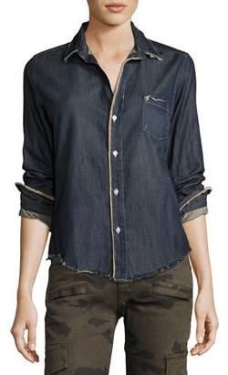 Frank And Eileen Barry Frayed Denim Button-Down Shirt
