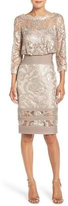 Women's Tadashi Shoji Sequin Lace Blouson Dress $368 thestylecure.com