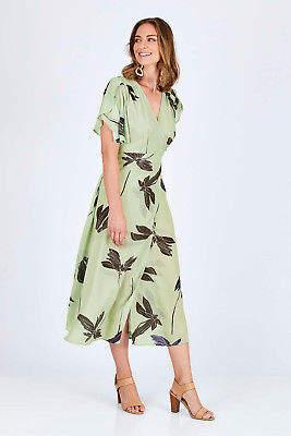 Spicy Sugar Womens Calf Length Dresses Printed Wrap Midi Length Dress Multi