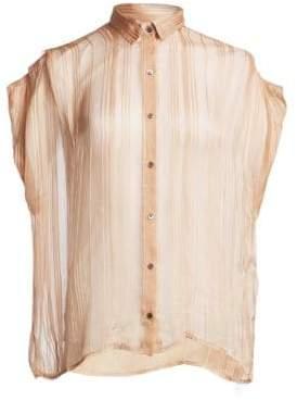 IRO Ruts Sheer Striped Button-Down Shirt