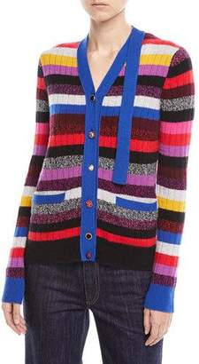 Marc Jacobs V-Neck Multicolor Stripe Cashmere Cardigan