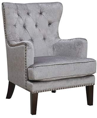 Isabella Collection AC Pacific Contemporary Upholstered Button Tufted Wing Back Accent Chair with Arms and Nailhead Trim