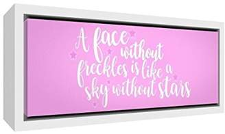 Camilla And Marc Feel Good Art A Face Freckles Is Like a Sky without Stars Contemporary White Wooden Framed Canvas, Wood, Soft Pink, 34 x 84 x 3 cm