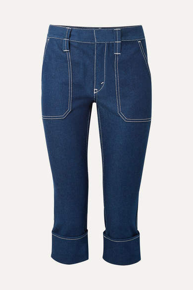 Cropped High-rise Straight-leg Jeans - Navy