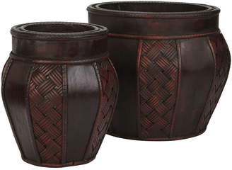 Asstd National Brand Nearly Natural Wood & Weave Panel Decorative Planters Set Of 2