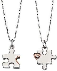 D For Diamond Rose Goldtone and Diamond Mother & Child Jigsaw Pendant Set