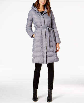 Cole Haan Hooded Belted Lightweight Down Coat