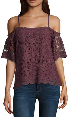 Miss Chievous Womens Straight Neck Elbow Sleeve Lace Lace Blouse-Juniors