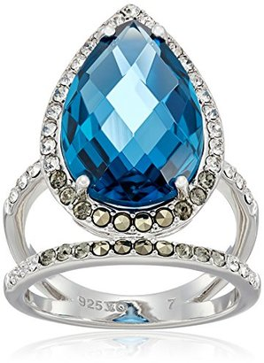 Judith Jack Sterling Silver/Swarovski Marcasite Blue Pear Shaped Ring, Size 8 $135 thestylecure.com