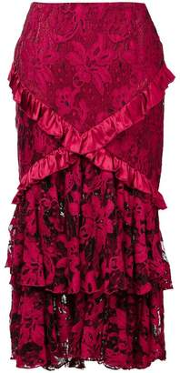 Romance Was Born 'Crimson Magnolia' skirt