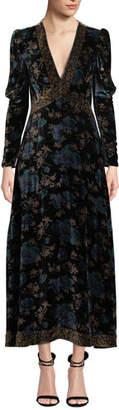 Rebecca Taylor Solstice Long-Sleeve Velvet V-Neck Maxi Dress