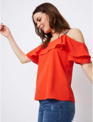 Bell George Orange Embellished Strap Cold Shoulder Blouse