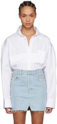 Vetements White Folded Up Cropped Oversized Shirt