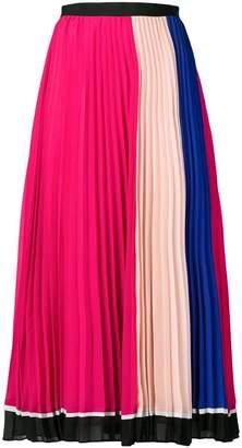 Self-Portrait colour block pleated skirt
