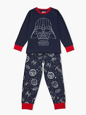 Star Wars Boys' Darth Vader Glow In The Dark Print Pyjamas, Navy