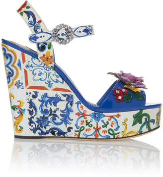 Dolce & Gabbana Embellished Patent-Leather Platform Sandals