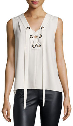 BCBGMAXAZRIA Marcia Sleeveless Lace-Up Crepe Top $158 thestylecure.com