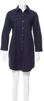Theory Long Sleeve Button-Up Dress