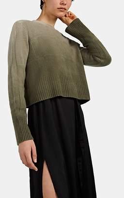 Raquel Allegra Women's Ombré Cashmere-Wool Crop Sweater - Green
