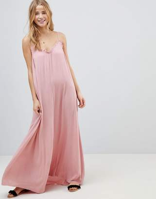 Asos Design Scoop Back Maxi Dress in Crinkle