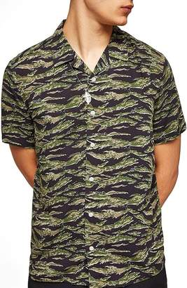 Topman Tiger Camo Print Camp Shirt