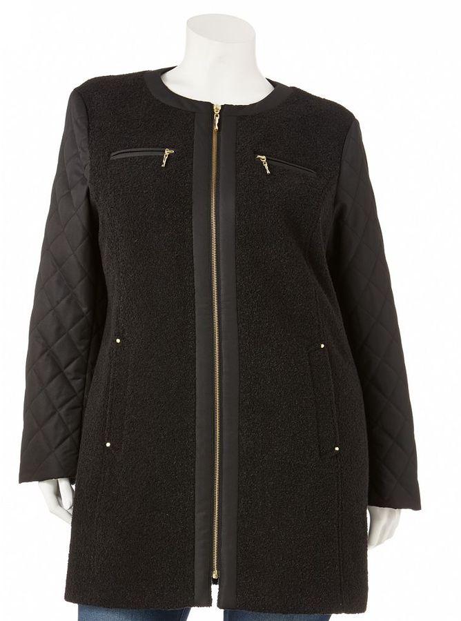 Apt. 9 collarless mixed-media coat - women's plus
