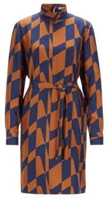 BOSS Hugo Long-sleeved dress in silk twill graphic print 2 Patterned
