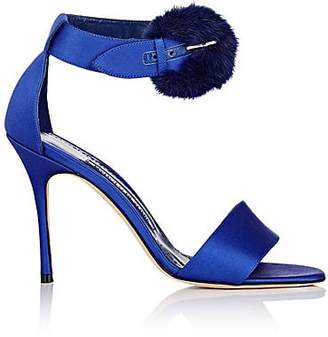 Manolo Blahnik Women's Trespola Satin & Fur Sandals - Blue